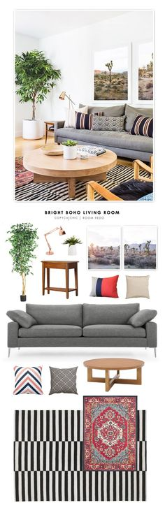 TOTAL | $2,204  SOFA $1,199 OR HERE | BLACK & WHITE RUG $199 | SAFAVIEH RUG $165 | COFFEE TABLE $179 | SIDE TABLE $127 | TABLE LAMP $102 OR HERE $70 | ART PRINT (RIGHT) $55 | ART PRINT (LEFT) $55 | GE
