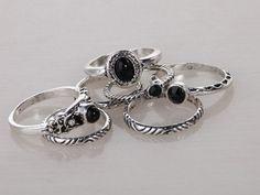 7pcs/set Antique Black/White/Turquoise Silver Beads Ring Set