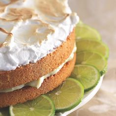 A cake with a meringue? Though not unheard of, this one is definitely a flight of fancy, a cakey version of Key lime pie.