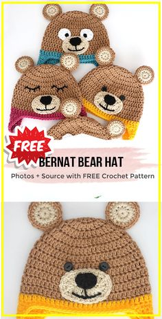 Great Screen Crochet Hat for boys Strategies crochet Bernat Bear Hat free pattern – easy crochet Hat Pattern for beginners via Share a Pattern Crochet Animal Hats, Crochet Hats For Boys, Knitted Hats Kids, Crochet Bear, Crochet Baby Hats, Crochet Baby Clothes Boy, Preemie Crochet, Crochet Monkey, Knit Hats