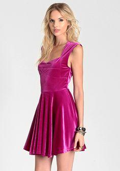 Pink Velvet Skater Dress / MINKPINK  Would love to pair a velvet skater dress with fall layers...