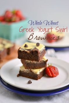 Whole Wheat Greek Yogurt Swirl Brownies ½ C salted butter 1 C sugar(I used raw sugar, sucanant or another lesser processed sugar should work fine) 2 large eggs 2 tsp vanilla ¾ C unsweetened cocoa ¾ C whole spelt flour(whole wheat pastry flour should work fine) ¼ tsp sea salt For the Greek yogurt swirl: ½ C plain Greek yogurt 2 tbsp egg 1 tsp vanilla 1½ – 2 tbsp honey