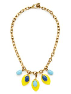 Yellow Marquise Shaped & Blue Oval Drop Necklace by Lulu Frost