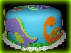 Dinosaur birthday cake.