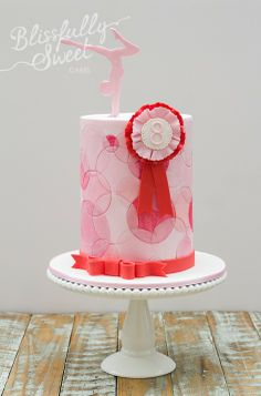 Gymnastics & Rosettes Birthday Cake I love working with Leanne of Sweet Style and Nicole of Pretty and Print! Sports Themed Cakes, Themed Birthday Cakes, 6th Birthday Parties, Girl Birthday, 10th Birthday, Birthday Ideas, Gymnastics Cakes, Gymnastics Birthday, Mini Tortillas