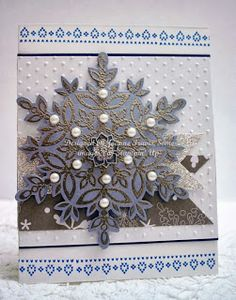 Stampin' Up! Festive Flurry embellished snowflake handmade Christmas card