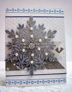 Stampin' Up! Festive Flurry embellished snowflake handmade Christmas card