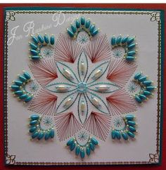 Cardmaking Online: Beads, Beads, Beads by Jan Rankine Hand Made Greeting Cards, Making Greeting Cards, Embroidery Cards, Beaded Embroidery, String Art Patterns, Sewing Cards, Card Patterns, Paper Beads, Bead Art