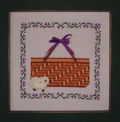 Violet Ribbon Basket - Cross Stitch Pattern (INSTANT DOWNLOAD) / Counted Thread Pattern / Digital PDF / Purple, Sheep / Beginner Chart
