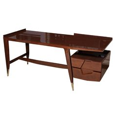 A Rare and Important Gio Ponti Desk ,Italy, 1950s | From a unique collection of antique and modern desks and writing tables at https://www.1stdibs.com/furniture/tables/desks-writing-tables/