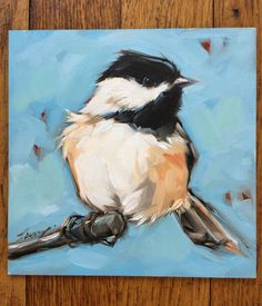Chickadee painting, Original impressionistic oil painting of a Chickadee on a branch, 6x6 on panel, Professional fine art board is 1/8 thick. These small paintings can be displayed on an decorative easel or easily and inexpensively framed using a standard photo frame minus the glass or with a matte. Artwork is photographed and the image is adjusted to match the original painting as close as possible. If you have any questions please feel free to contact me. Copyrights of all artwork ar...