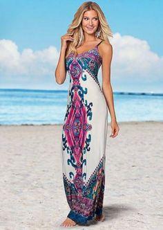 vestido longo de malha estampa oriental