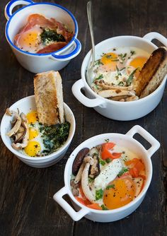Wild Greens and Sardines : Oeufs en Cocottes (Eggs Baked in Little Dishes)