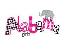Alabama houndstooth  Alabama elephant Alabama Girls by gracieandco, $12.00