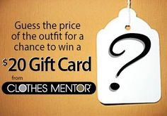 clothes mentor ad on Facebook found by TGtbT.com... why not adapt this for your consignment or resale shop? Post a complete outfit on FB, display it in your shop, have a entry box right there... and, natch, announce the winner on FB then snap her/him with whatever they redeemed their winnings for!