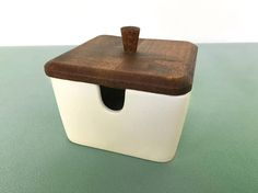 Square Mid Century Ceramic Condiment Serving Dish made in Japan Wood Top