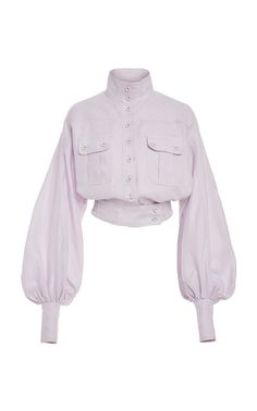 Shop Ninety-Six Racer Linen Jacket. Zimmermann's linen 'Ninety-Six Racer' jacket is crafted with voluminous blouson sleeves and a cropped silhouette. Classy Outfits, Cool Outfits, Fashion Outfits, Womens Fashion, Mode Kpop, Fashion Corner, Look Vintage, Types Of Fashion Styles, Aesthetic Clothes