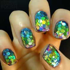 Rainbow + holographic sparkle nails