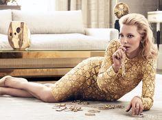 Blanchett wears an embroidered silk dress by Dolce & Gabbana. Verdura earrings. Cartier 18K-gold ring, bracelet, and watch with diamonds. Jennifer Fisher rings
