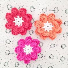 Crocheted double flowers on Etsy