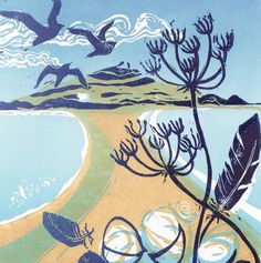 'Tidal Walk' By Printmaker Caroline Barker. Blank Art Cards By Green Pebble. www.greenpebble.co.uk