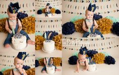 Two Sisters Photography cake smash sessions, modern cake smash, wild one theme, blue and gold, mint cake smash, wild one cake smash, feathers