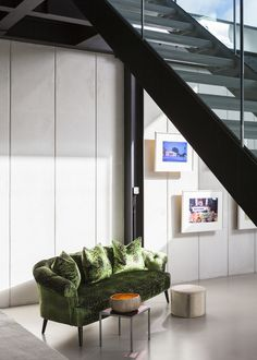 contemporary seating area in warehouse style living space