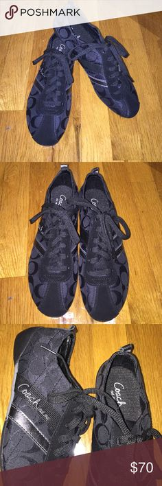 Brand new coach black signature sneaker size 7 Brand new coach black signature sneaker size 7. Signature outside and on the tongue of the shoes. Tie up front. Never worn, NO box. Super comfortable Coach Shoes Sneakers