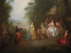 Artwork by Jean-Baptiste Joseph Pater, L'Amour et le Badinage, Made of Oil on canvas Joseph, Jean Honore Fragonard, The Royal Collection, Jean Baptiste, Baroque Fashion, Outdoor Settings, Old Master, Impressionist, 18th Century