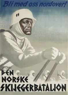 """""""Venez au nord avec nous"""" Affiche de recrutement norvégienne pour le bataillon de ski norvégien de la SS"""