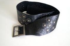 Wide Boho belt Vintage belt with brass buckle by vintagdesign
