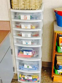 Easy and functional idea for storing math manipulatives.