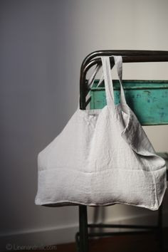 Petit cabas en lin Linge particulier by LINEN AND MILK