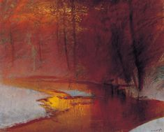 Golden lights in the winter forest by Mednyánszky László (Hungarian, 1852-1919)