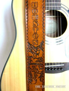 Mountain Leather Guitar Strap Hand Tooled by TheLeatherSmithy