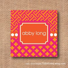 PINK and ORANGE personalized calling cards business by ColorLinks, $10.50
