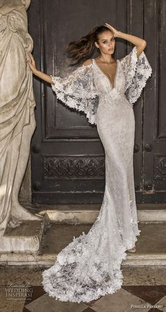 Weddinginspirasi.com featuring - pinella passaro 2019 bridal half angel sleeves cold shoulder deep v neck full embellishment elegant sheath wedding dress medium train (15) mv -- Pinella Passaro 2019 Wedding Dresses #wedding #weddings #bridal #weddingdress #weddingdresses #bride #fashion ~