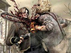Resident Evil 4: death by chainsaw! Leon, nooooooooooo!! I hate that guy! At least you get a ruby for killing him.
