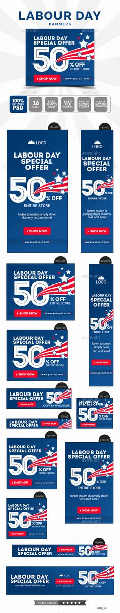 Labour Day Sale Banners Template #design #web #ads Download: http://graphicriver.net/item/labour-day-sale-banners/12646460?ref=ksioks