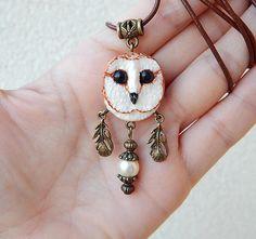 Barn-owl pendant White Owl pendant handmade owl owl totem