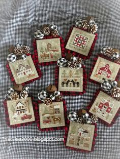 Yesterday I did the final finishing on my Little House Needleworks Far. Xmas Cross Stitch, Cross Stitch Needles, Cross Stitch Samplers, Cross Stitch Charts, Cross Stitch Designs, Cross Stitching, Cross Stitch Embroidery, Cross Stitch Patterns, Farmhouse Christmas Ornaments