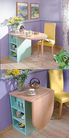 Confortável mesa de cozinha dobrável para café da manhã. MK.