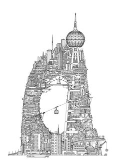 Favela Arch Toby Melville- Brown is obsessed with the built environment. Perhaps that's why his intricate illustrations of imaginary towers are filled with a. Building Illustration, City Illustration, Architecture Drawings, Amazing Architecture, Architecture Photo, Gothic Architecture, Vertical City, Designs To Draw, Bunt