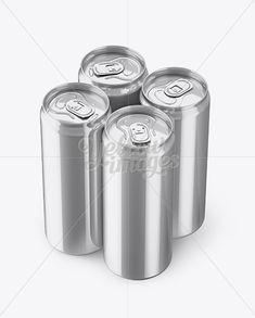 4 Metallic Aluminium Cans Mockup – Half Side View (High Angle Shot)