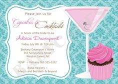 cupcakes and cocktails bridal shower invitation bachelorette diy print your own matching party printables