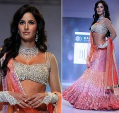 Katrina Kaif in a diamond-encrusted blouse and pink flared lengha.