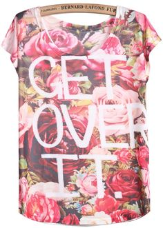 Red White Short Sleeve Floral Letters Print T-Shirt 7.99