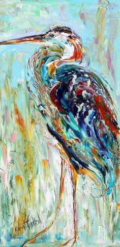 blue heron canvas art | Original oil painting Blue Heron bird by Karen Tarlton