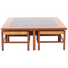 Danish Modern Teak Coffee Table with Stools