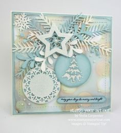 handmade Christmas card in non-traditional baby blue, white and sand ... die cuts galore: fir branches, stars, mistletoe sprays and fancy baubles ... super card ... Stampin' Up!